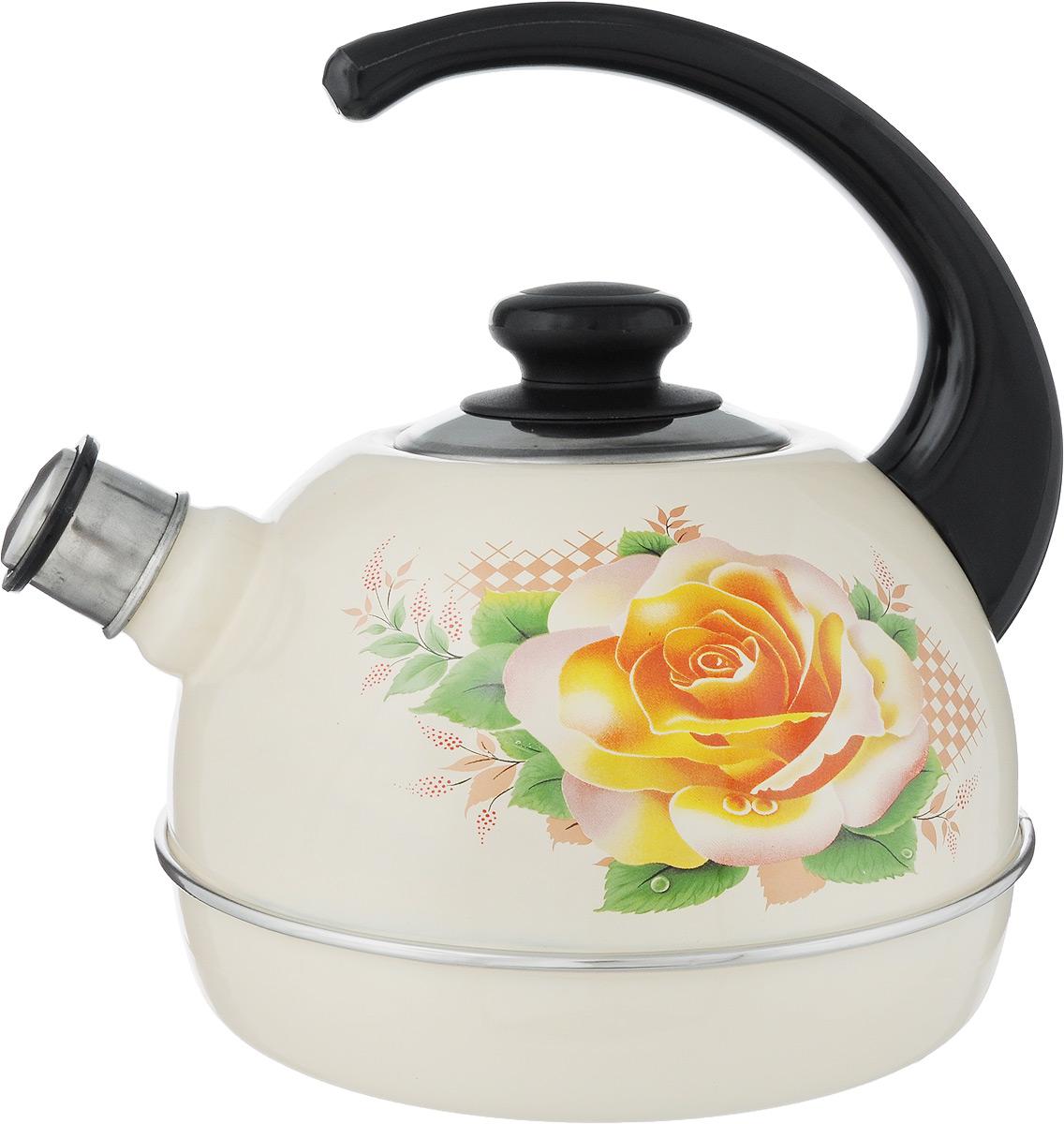 Чайник эмалированный Рубин Роза, со свистком, 3,5 лT04/35/04/06Чайник Рубин Роза выполнен из высококачественного стального проката, что обеспечивает долговечность использования. Внешнее трехслойное эмалевое покрытие Mefrit не вступает во взаимодействие с пищевыми продуктами. Такое покрытие защищает сталь от коррозии, придает посуде гладкую стекловидную поверхность и надежно защищает от кислот и щелочей. Чайник оснащен фиксированной ручкой из пластика и крышкой, которая плотно прилегает к краю. Носик чайника оснащен съемным свистком, звуковой сигнал которого подскажет, когда закипит вода. Можно мыть в посудомоечной машине. Пригоден для всех видов плит, включая индукционные. Высота чайника (с учетом ручки): 24 см.Высота чайника (без учета крышки и ручки): 14 см.Диаметр по верхнему краю: 8,7 см.