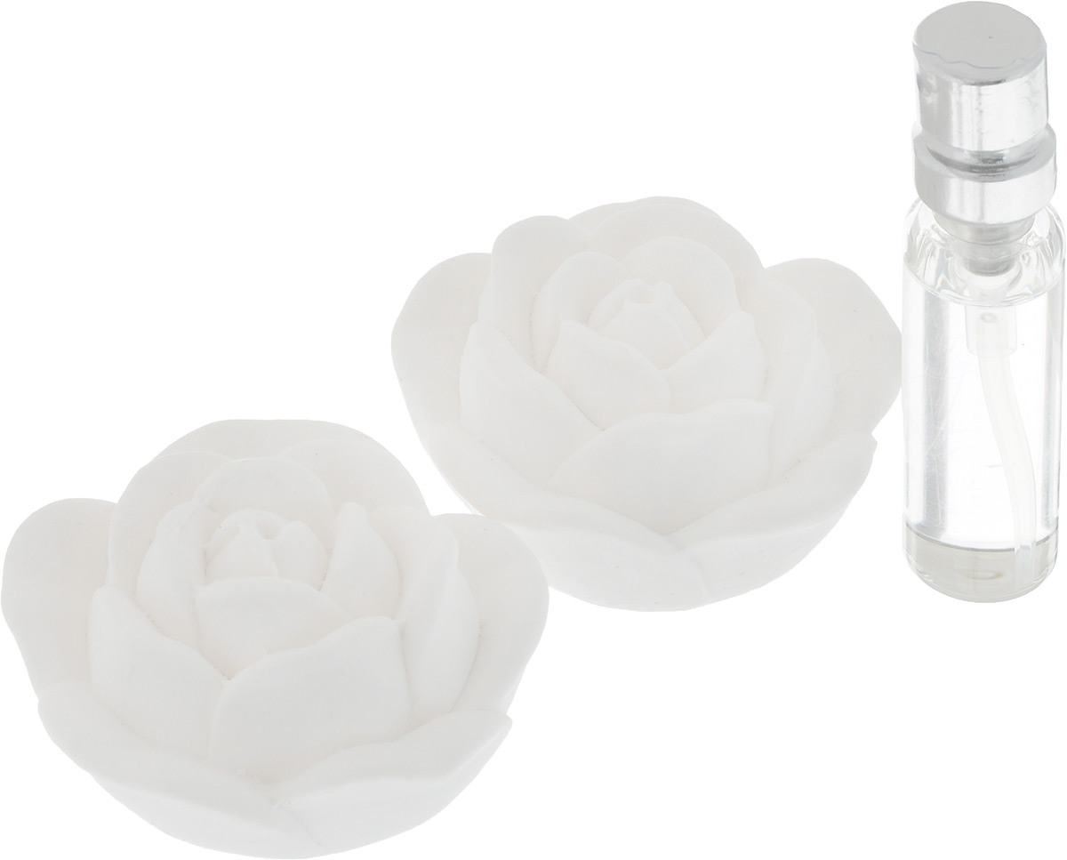 Набор ароматический Феникс-Презент Роза, 3 предмета. 4385143851Набор Феникс-Презент Роза состоит из двух ароматических украшений, выполненных из гипса, и синтетического аромамасла без содержания спирта с запахом ванили. Аромат предметов набора разносится медленно, сохраняется долгое время. Ароматизаторы замечательно устраняют неприятные запахи и придают дому свежесть. Кроме того, такой набор станет замечательным подарком для родных и близких. Размер украшения: 5 х 5 х 2,5 см.Объем аромамасла: 5 мл.