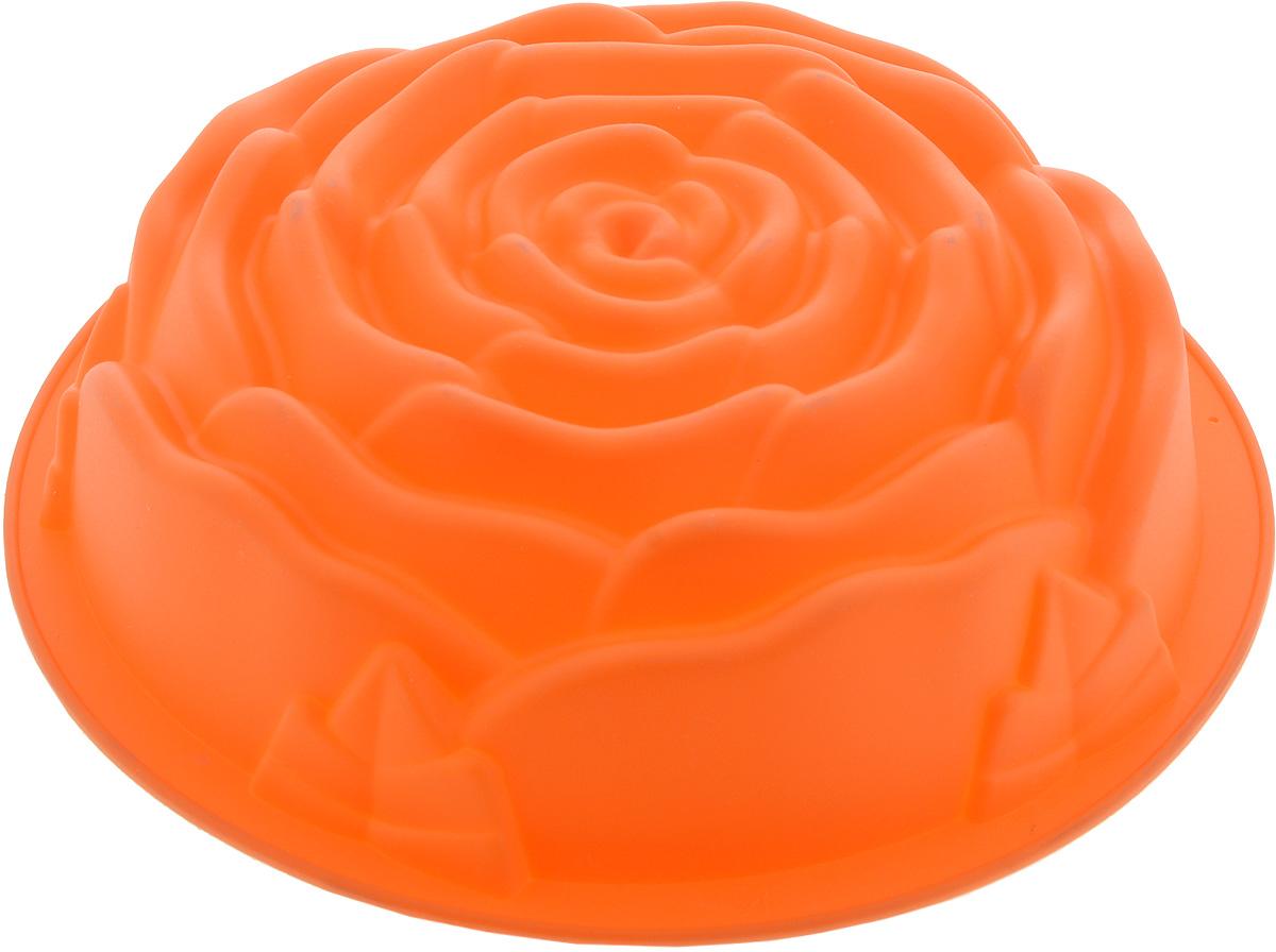 Форма для выпечки Mayer & Boch Роза, силиконовая, цвет: оранжевый, диаметр 25 см21974_оранжевыйФорма для выпечки Mayer & Boch Роза, изготовленная из высококачественного силикона, выполнена в виде бутона розочки. Стенки формы легко гнутся, что позволяет легко достать готовую выпечку и сохранить аккуратный внешний вид блюда.Силикон - материал, который выдерживает температуру от -40°С до +230°С. Изделия из силикона очень удобны в использовании: пища в них не пригорает и не прилипает к стенкам, форма легко моется. Изделие обладает эластичными свойствами: складывается без изломов, восстанавливает свою первоначальную форму. Порадуйте своих родных и близких любимой выпечкой в необычном исполнении. Подходит для приготовления в микроволновой печи и духовом шкафу при нагревании до +230°С; для замораживания до -40°.Можно мыть в посудомоечной машине.Внутренний размер формы: 21,5 х 21,5 х 7 см.