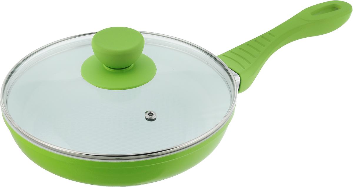 Сковорода Bohmann с крышкой, с керамическим покрытием, цвет: зеленый. Диаметр 20 см. 7020WC17086Сковорода Bohmann изготовлена из литого алюминия сантипригарным керамическим покрытием белого цвета.Внешнее покрытие - жаростойкий лак, который сохраняетцвет долгое время. Благодаря керамическому покрытиюпищане пригорает и не прилипает к поверхности сковороды,чтопозволяет готовить с минимальным количеством масла.Кроме того, такое покрытие абсолютно безопасно дляздоровья человека, так как не содержит вредной примесиPFOA. Рифленая внутренняя поверхность сковородыобеспечивает быстрое и легкое приготовление.Достоинства керамического покрытия:- устойчивость к высоким температурам и резкимперепадамтемператур;- устойчивость к царапающим кухоннымпринадлежностям иабразивным моющим средствам;- устойчивость к коррозии;- водоотталкивающий эффект;- покрытие способствует испарению воды во времяготовки; - длительный срок службы;- безопасность для окружающей среды и человека.Сковорода быстро разогревается, распределяя тепло повсейповерхности, что позволяет готовить вэнергосберегающемрежиме, значительно сокращая время, проведенное уплиты. Изделие оснащено ручкой, выполненной из пластика стермостойким силиконовым покрытием. Такая ручка ненагревается в процессе готовки и обеспечиваетнадежныйхват. Крышка, изготовленная из жаропрочного стекла,оснащена ручкой, отверстием для выпуска пара иметаллическим ободом. Благодаря такой крышке можноследить за приготовлением пищи без потери тепла. Подходит для газовых, электрических истеклокерамических плит, включая индукционные. Можномыть в посудомоечной машине.Диаметр сковороды: 20 см. Высота стенки: 4,5 см.Длина ручки: 17,5 см.