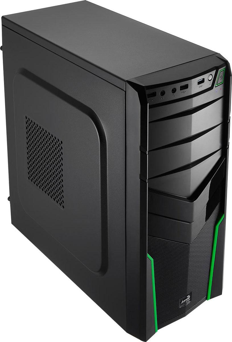Aerocool V2X, Green компьютерный корпус4713105952667Корпус Aerocool V2X изготовлен из панелей толщиной 0,5 мм и полностью окрашен изнутри в чёрный цвет. Он выполнен в форм-факторе MidTower и подойдет для геймеров и энтузиастов.На передней панели имеются 2 внешних отсека для 5,25-дюймового оптического привода или панели управления вентиляторами. Внутри корпуса располагаются 2 отсека для 3,5-дюймовых и 1 для 2,5-дюймового накопителей. Поддерживаются системы охлаждения процессора высотой до 150 мм. В Aerocool V2X можно установить видеокарты длиной до 320 мм.