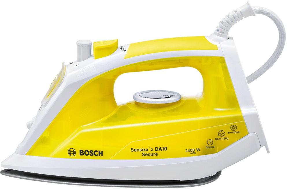 Bosch TDA1024140 утюгTDA1024140Утюг Bosch Sensixxx DA10 Secure оснащен нескользящей ручкой с резиновой накладкой и удобным расположением кнопок. Керамическая подошва PalladiumGlissee способствует быстрому нагреву и отличному скольжению. Мощность Bosch Sensixxx DA10 Secure достигает 2400 Вт, что позволяет качественно гладить даже тяжелые и сложные ткани, а заостренный носик поможет разгладить складки между пуговицами и швами. Благодаря паровому удару до 120 г/мин процесс глажения станет быстрее.Сенсорная система защиты от протечек Капля-стоп перекрывает подачу воды при недостаточной температуре воды. Исключается скапывание воды при глажении на низких температурах. Больше никаких капель и мокрых пятен на ткани.Три - счастливое число - это касается и срока службы прибора. Система защиты 3 AntiCalc обеспечивает идеальный пар без частичек накипи и включает в себя 3 вида защиты от накипи: Self clean, calcnclean и AntiCalc. Более долгий срок службы утюга.C Bosch безопасность наших приборов очень важна. Так, например, система Auto-shut-off secure автоматически отключает нагревательный элемент утюга, если он находится без движения – в состоянии на боку или на подошве через 30 секунд.