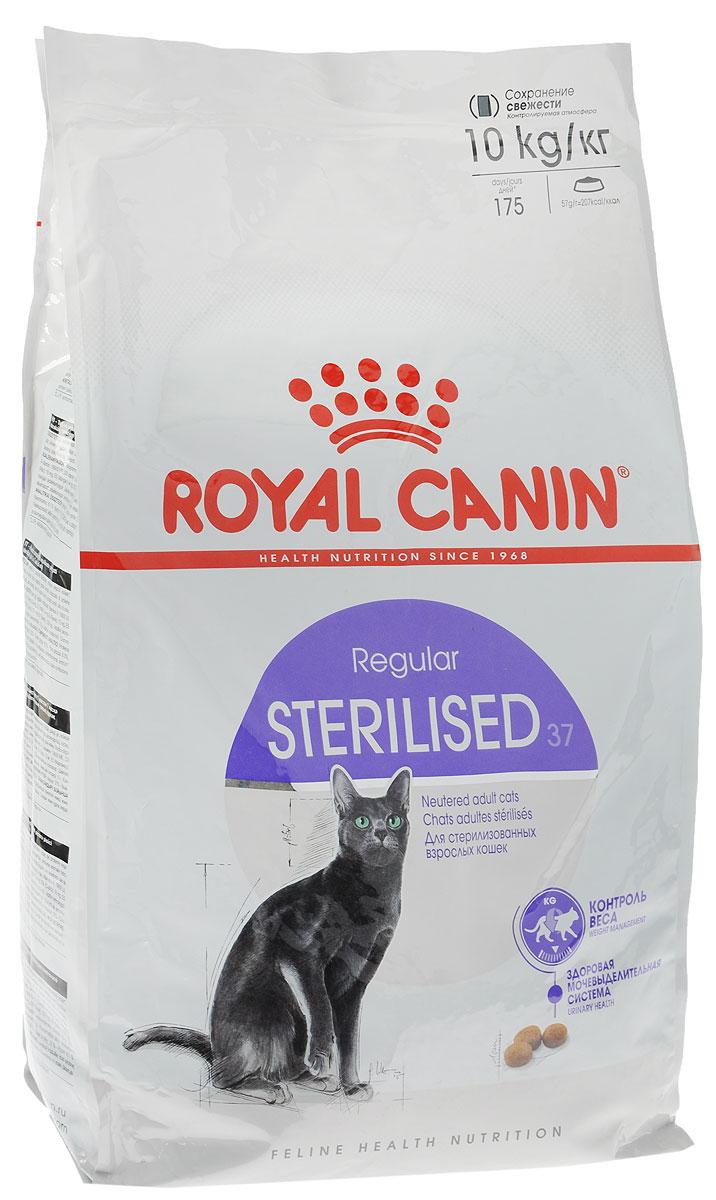 Корм сухой Royal Canin Sterilised 37, для взрослых стерилизованных кошек, 10 кг496100-496810Полнорационный сухой корм Royal Canin Sterilised 37 подходит стерилизованным кошкам в возрасте от 1 до 7 лет. Корм Sterilised 37 ограничивает риск набора избыточной массы тела стерилизованной кошкой благодаря умеренному содержанию жиров (12%). L-карнитин способствует активной утилизации жиров.Повышенное содержание белков высокой биологической ценности в корме способствует поддержанию мышечной массы и тонуса мышц стерилизованной кошки. Корм способствует регулярному мочеиспусканию и поддерживает необходимый уровень кислотности мочи (pH: 6-6,5) что предотвращает риск возникновения мочекаменной болезни у стерилизованной кошки.Состав: дегидратированные белки животного происхождения (птица), кукуруза, изолят растительных белков, кукурузная клейковина, растительная клетчатка, гидролизат белков животного происхождения, животные жиры, пшеница, рис, свекольный жом, минеральные вещества, дрожжи, рыбий жир, фруктоолигосахариды, соевое масло.Добавки (в 1 кг): Витамин A: 19000 ME, Витамин D3: 1000 ME, Железо: 31 мг, Йод: 3,1 мг, Марганец: 41 мг, Цинк: 122 мг, Ceлeн: 0,05 мг, L-карнитин: 100 мг.Товар сертифицирован.
