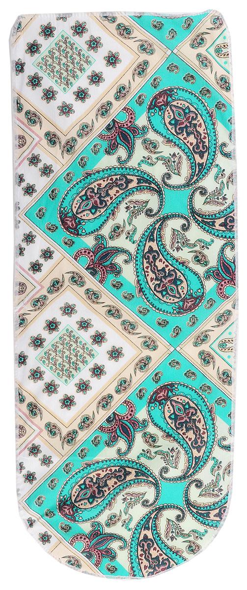 """Фото Чехол для гладильной доски """"Eva"""", цвет: зеленый, бежевый, 125 см х 47 см"""