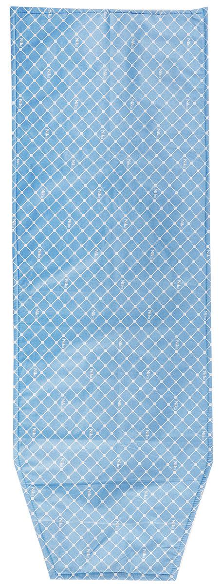 """Чехол для гладильной доски """"Nika"""", антипригарный, с поролоном, цвет: синий, белый, 129 х 48 см"""