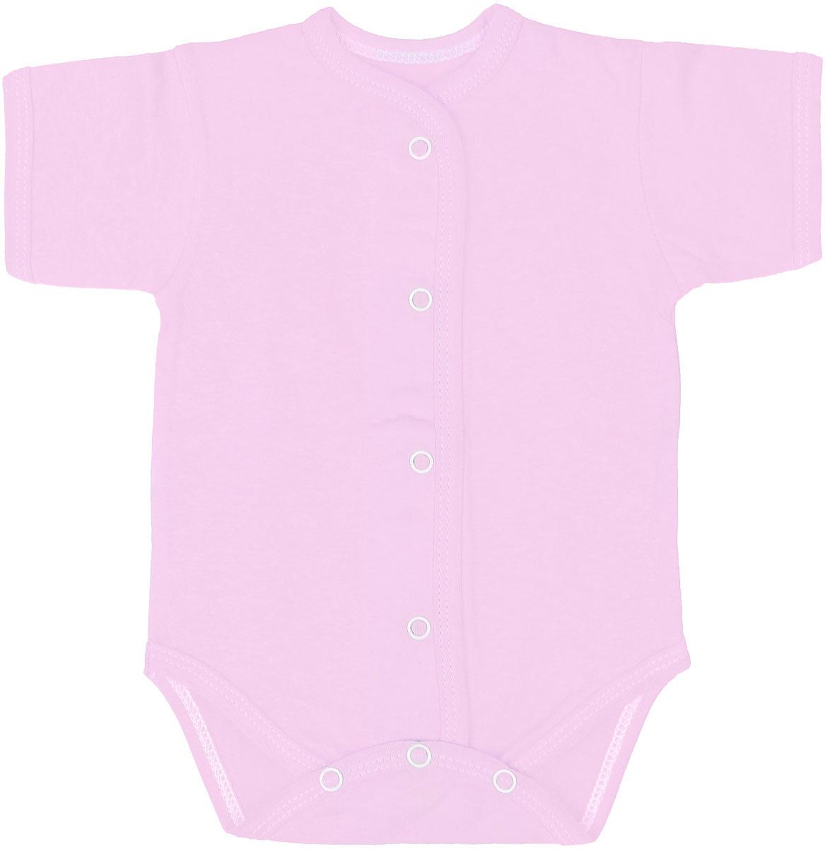 Боди детское Чудесные одежки, цвет: розовый. 5869. Размер 625869Детское боди Чудесные одежки выполнено из натурального хлопка.Боди с короткими рукавами и круглым вырезом горловины застегивается на кнопки на ластовице и спереди, что позволяет легко и быстро одеть малыша или поменять подгузник. Горловина, манжеты рукавов, полочки и проймы для ножек отделаны трикотажной лентой.