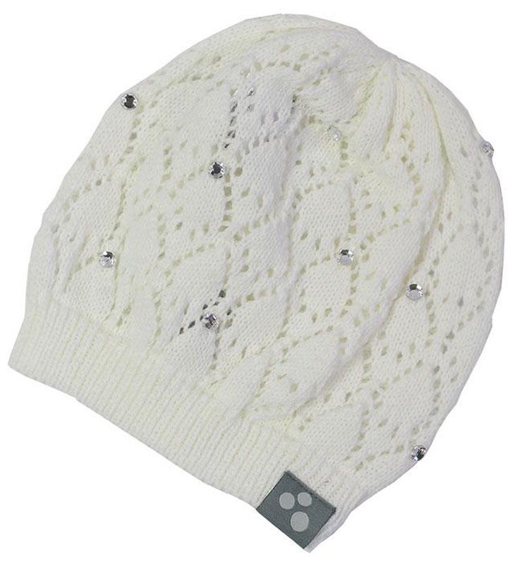 Шапка для девочки Huppa Lacy, цвет: белый. 80390000-70020. Размер S (47/49)80390000-70020Вязаная шапочка Huppa Lacy согреет вашего ребенка в прохладную погоду. Шапочка с ажурным рисунком декорирована стразами.
