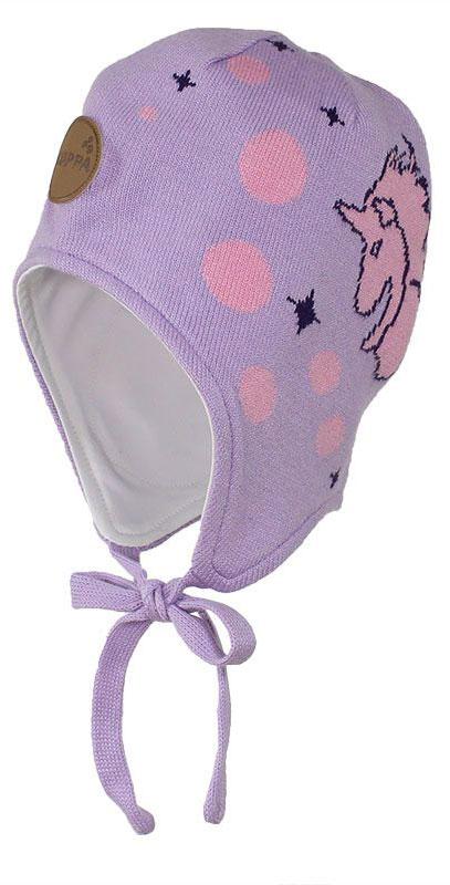 Шапка для девочки Huppa Silby, цвет: светло-лиловый. 83710000-70043. Размер XS (43/45)83710000-70043Шапка для девочки Huppa Silby выполнена из высококачественной пряжи из хлопка с добавлением акрила. Подкладка изготовлена из натурального хлопка. Модель дополнена завязками и имеет утепленные вставки в области ушей. Шапка фиксируется при помощи завязок, оформлена оригинальным рисунком с изображением единорога.
