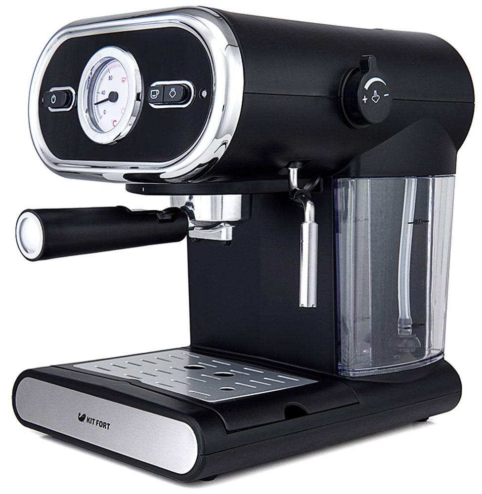 Kitfort КТ-702 кофеваркаКТ-702Помповая рожковая полуавтоматическая эспрессо-кофеварка Kitfort КТ-702 может приготовить 1 или 2 чашки кофе за один раз, оснащена функцией взбивания молока, а также поможет разогреть напитки горячим паром.Принцип действия кофеварки основан на пропускании горячей воды под давлением в несколько атмосфер через слой молотого кофе. Температура воды контролируется встроенным термостатом. Это позволяет быстро и полно экстрагировать из заварки все полезные вещества и получить отличный кофе эспрессо с пенкой.Благодаря функции взбивания молочной пены вы сможете приготовить настоящий капучино или торо.Корпус кофеварки выполнен из пластика с металлическими вставками. Металлический фильтр с лазерным нанесением отверстий долговечен, и не требует использования каких-либо расходующихся частей.Длина шнура питания: 93 см
