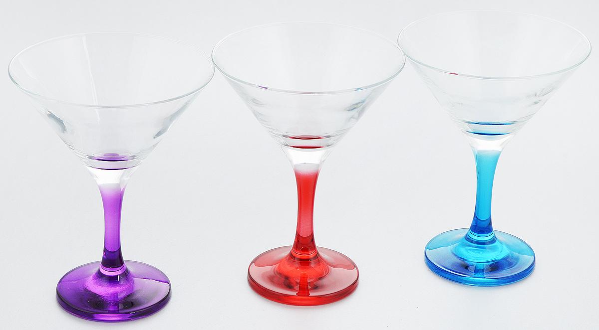 """Набор Pasabahce """"Enjoy"""" состоит из 3 бокалов, изготовленных  из высококачественного натрий-кальций-силикатного стекла.  Изделия оснащены цветными ножками и подойдут для подачи вина.  Такой набор прекрасно дополнит праздничный стол и станет  желанным подарком в любом доме."""