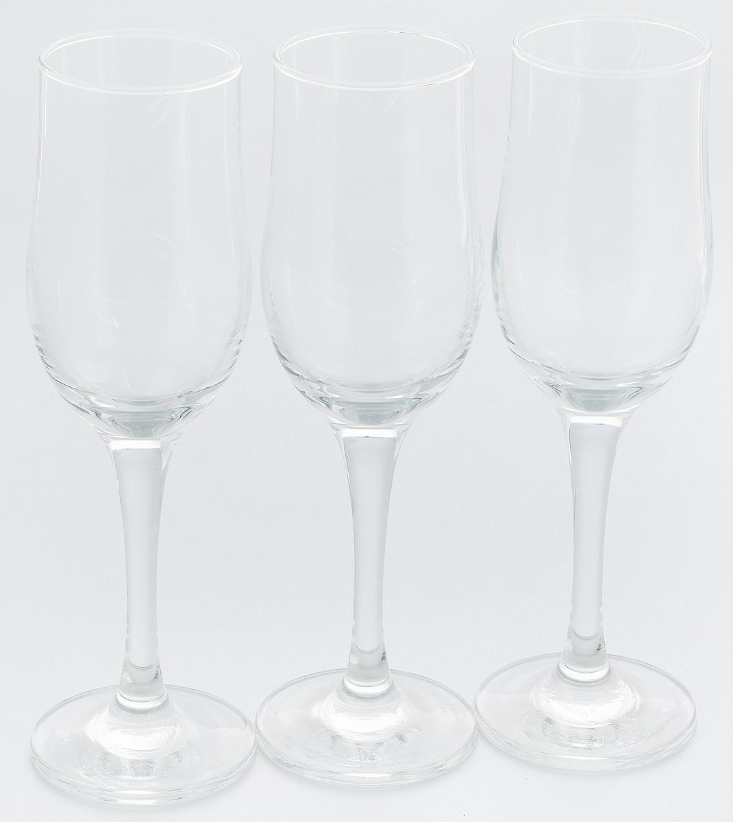 Набор фужеров для шампанского Pasabahce Tulipe, 190 мл, 3 шт imperial plus набор фужеров 6шт вино 315мл 4 64 pasabahce 4 1063139