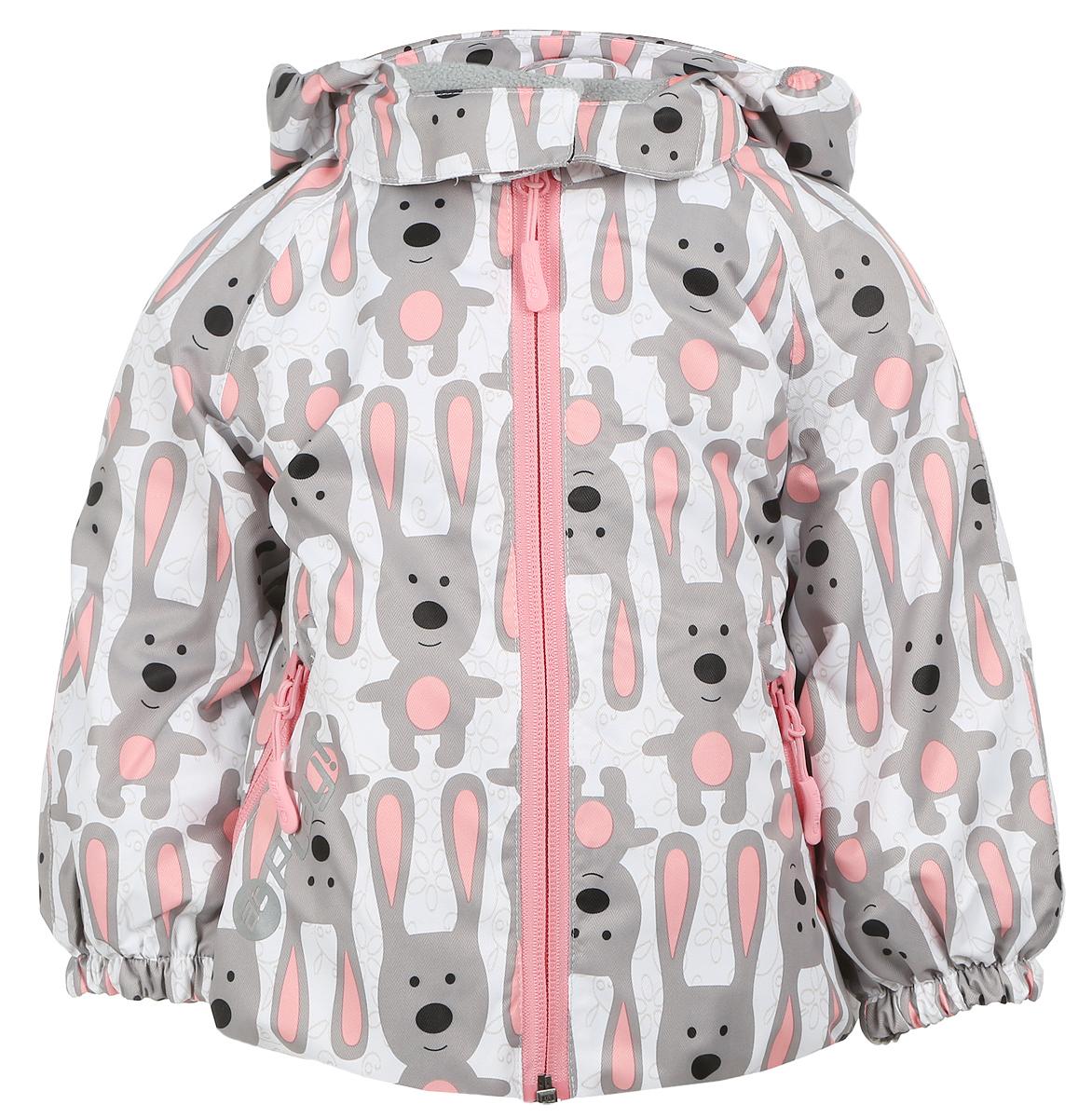 Куртка для девочки atPlay!, цвет: молочный, светло-серый. 1jk703. Размер 80, 1 год1jk703Удобная и комфортная куртка для девочки atPlay! выполнена из качественного полиэстера, с покрытием Teflon от DuPont, которое облегчает уход за этой одеждой. Дышащая способность: 5000г/м и водонепроницаемость куртки: 5000мм.Куртка 2 в 1 с отстегивающейся флисовой поддевкой-кофточкой из материала Polar fleese, которая служит как утеплитель, а также ее можно носить отдельно. Такая кофточка отличное решение для весеннего периода, к тому же она изготовлена с антипиллинговой обработкой ворса для сохранения качественных характеристик на более длительный срок. Куртка с воротником-стойкой и отстегивающимся капюшоном застегивается на молнию с защитой подбородка. Капюшон имеет спереди защитный клапан на липучках. Манжеты рукавов, капюшон и низ изделия дополнены эластичными резинками. Спереди модель оформлена двумя прорезными карманами на застежках-молниях, с внутренней стороны на поддевке-кофточке расположены два накладных кармана.Куртка оснащена светоотражающей надписью и оформлена интересным принтом с изображением зайчиков.