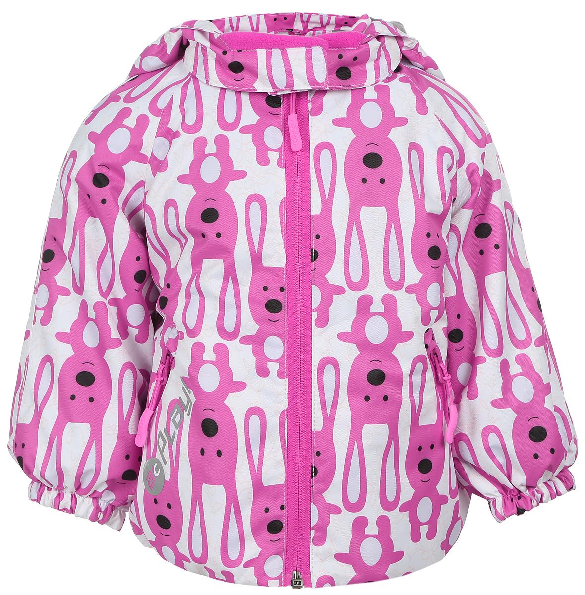 Куртка для девочки atPlay!, цвет: молочный, розовый. 1jk703. Размер 86, 1,5 года1jk703Удобная и комфортная куртка для девочки atPlay! выполнена из качественного полиэстера, с покрытием Teflon от DuPont, которое облегчает уход за этой одеждой. Дышащая способность: 5000г/м и водонепроницаемость куртки: 5000мм.Куртка 2 в 1 с отстегивающейся флисовой поддевкой-кофточкой из материала Polar fleese, которая служит как утеплитель, а также ее можно носить отдельно. Такая кофточка отличное решение для весеннего периода, к тому же она изготовлена с антипиллинговой обработкой ворса для сохранения качественных характеристик на более длительный срок. Куртка с воротником-стойкой и отстегивающимся капюшоном застегивается на молнию с защитой подбородка. Капюшон имеет спереди защитный клапан на липучках. Манжеты рукавов, капюшон и низ изделия дополнены эластичными резинками. Спереди модель оформлена двумя прорезными карманами на застежках-молниях, с внутренней стороны на поддевке-кофточке расположены два накладных кармана.Куртка оснащена светоотражающей надписью и оформлена интересным принтом с изображением зайчиков.