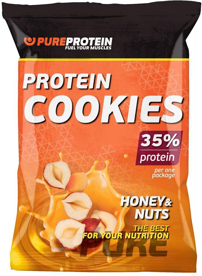 """Печенье белковое PureProtein """"Protein Cookies"""", мед с орехами, 960 г, 12 упаковок"""