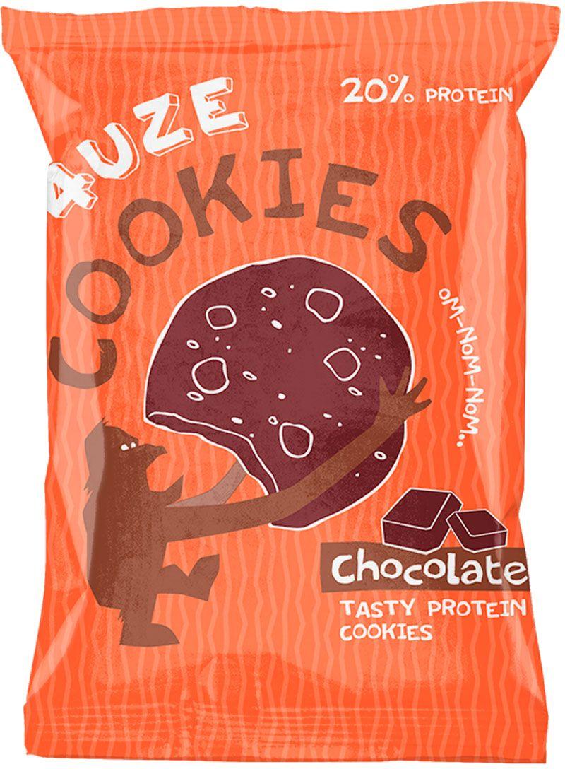 Печенье белковое 4UZE  Fuze Cookies , шоколад, 640 г, 16 упаковок - Батончики