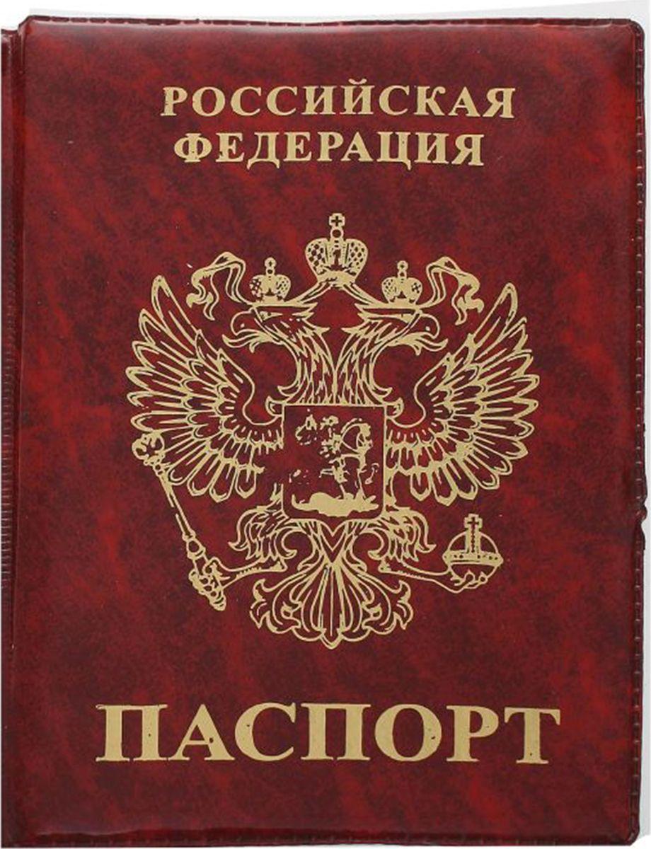 Обложка для паспорта Mitya Veselkov, цвет: красный. 19693091969309Обложка для паспорта Mitya Veselkov выполнена из ПВХ. Края дополнены прострочкой. Внутри у модели широкие удобные поля. Оформлена обложка изображением герба РФ и надписью.