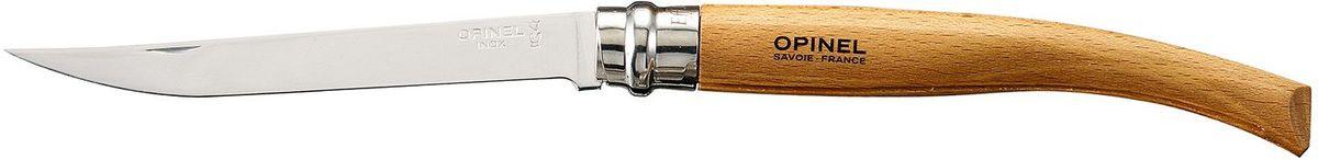 Нож филейный Opinel Slim №12, длина клинка 12 см, цвет: светло-коричневый. 000518000518Нож филейный Opinel изготовлен из нержавеющей стали с рукояткой из бука с матовой полировкой. Идеальный карманный нож для пикника, барбекю, походов, охоты и рыбалки.Характеристики. Материал лезвия: сталь Sandvik 12C27. Материал рукояти: бук. Тип ножевого замка: Viroblock. Приспособление для открытия клинка: насечка на лезвии. Длина лезвия, см: 12. Длина ножа, см: 27. Ширина лезвия, см: 1,71. Длина в сложенном положении, см: 15. Вес, гр: 50. Viroblock - оригинальное запорное устройство, представляющее собой кольцо с прорезью, которое, будучи повернуто относительно оси ножа, упирается в пятку клинка и не дает ножу самопроизвольно складываться при работе или раскладываться в кармане. Конструкция эта защищена патентом и устанавливается на ножи Opinel с 1955 года, начиная с модели № 6. Французская форма Opinel - производитель ножей с 1890 года. Удачная конструкция ножей обеспечила фирме не только длительное существование, но и всемирную славу. Ножи Opinel являются символом Франции. Классический нож этого типа - рукоять из дерева, металлическая втулка, ось, клинок и поворотное кольцо. Такая простота наряду с малой ценой и отличным качеством - вот рецепт успеха этих ножей. Наиболее распространены ножи с поворотным кольцом, которое фиксирует клинок в двух положениях.