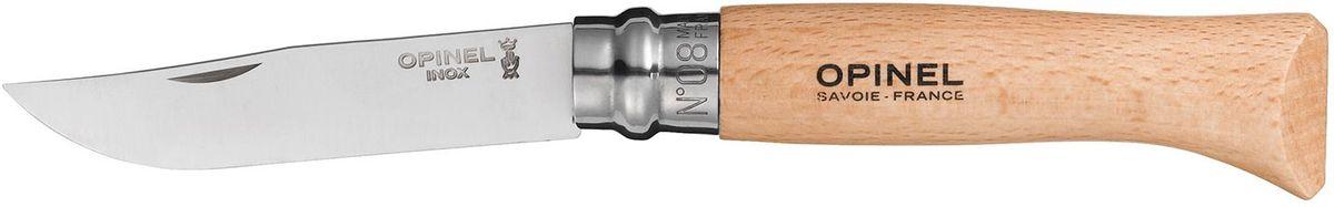 Нож Opinel Tradition №08, длина клинка 8,5 см, цвет: светло-коричневый001089Нож Opinel изготовлен из нержавеющей стали, рукоятка - из натурального дерева бука. Рукоять дополнена практичным темляком.Идеальный карманный нож для пикника, барбекю, походов, охоты и рыбалки. Характеристики. Материал лезвия: сталь Sandvik 12C27. Материал рукояти: бук. Тип ножевого замка: Viroblock. Приспособление для открытия клинка: насечка на лезвии. Длина лезвия, см: 8,5. Длина ножа, см: 19. Ширина лезвия, см: 1,73. Длина в сложенном положении, см: 11. Вес, гр: 48. Viroblock - оригинальное запорное устройство, представляющее собой кольцо с прорезью, которое, будучи повернуто относительно оси ножа, упирается в пятку клинка и не дает ножу самопроизвольно складываться при работе или раскладываться в кармане. Конструкция эта защищена патентом и устанавливается на ножи Opinel с 1955 года, начиная с модели № 6. Французская форма Opinel - производитель ножей с 1890 года. Удачная конструкция ножей обеспечила фирме не только длительное существование, но и всемирную славу. Ножи Opinel являются символом Франции. Классический нож этого типа - рукоять из дерева, металлическая втулка, ось, клинок и поворотное кольцо. Такая простота наряду с малой ценой и отличным качеством - вот рецепт успеха этих ножей. Наиболее распространены ножи с поворотным кольцом, которое фиксирует клинок в двух положениях.