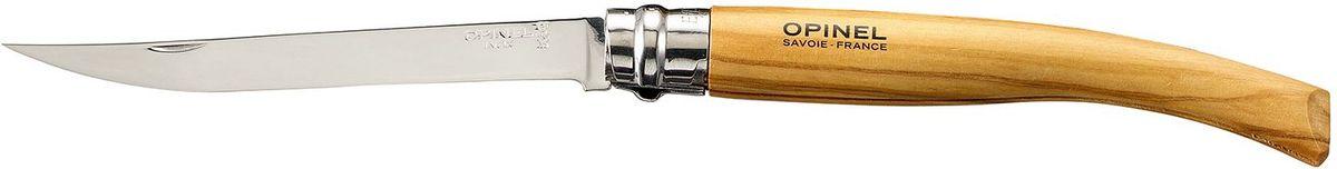 Нож филейный Opinel Slim №12, длина клинка 12 см, цвет: светло-коричневый. 001145001145Нож филейный Opinel изготовлен из нержавеющей стали с рукояткой из дерева оливы с зеркальной полировкой. Идеальный карманный нож для пикника, барбекю, походов, охоты и рыбалки.Характеристики. Материал лезвия: сталь Sandvik 12C27. Материал рукояти: олива. Тип ножевого замка: Viroblock. Приспособление для открытия клинка: насечка на лезвии. Длина лезвия, см: 12. Длина ножа, см: 27. Ширина лезвия, см: 1,71. Длина в сложенном положении, см: 15. Вес, гр: 50. Viroblock - оригинальное запорное устройство, представляющее собой кольцо с прорезью, которое, будучи повернуто относительно оси ножа, упирается в пятку клинка и не дает ножу самопроизвольно складываться при работе или раскладываться в кармане. Конструкция эта защищена патентом и устанавливается на ножи Opinel с 1955 года, начиная с модели № 6. Французская форма Opinel - производитель ножей с 1890 года. Удачная конструкция ножей обеспечила фирме не только длительное существование, но и всемирную славу. Ножи Opinel являются символом Франции. Классический нож этого типа - рукоять из дерева, металлическая втулка, ось, клинок и поворотное кольцо. Такая простота наряду с малой ценой и отличным качеством - вот рецепт успеха этих ножей. Наиболее распространены ножи с поворотным кольцом, которое фиксирует клинок в двух положениях.