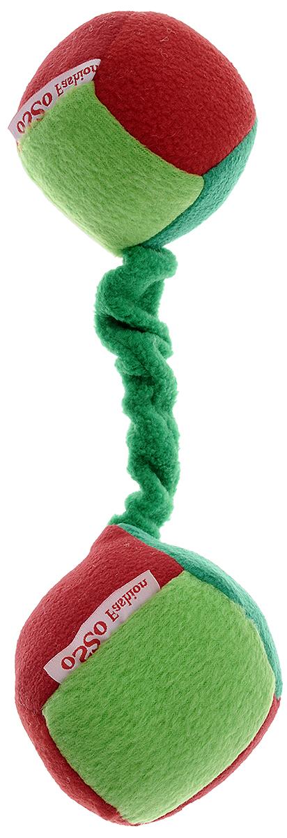 Игрушка для собак Osso Fashion Кубики, на резинке с пищалкой, цвет: красный, зеленый, 10 х 22 см пояс для собак osso fashion для мальчика многоразовый впитывающий размер m