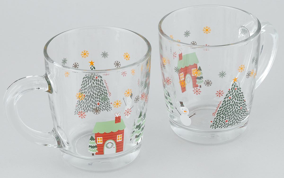 """Набор Pasabahce Workshop """"Christmas Tree"""" состоит из двух кружек с удобными ручками, выполненных из прочного натрий-кальций-силикатного стекла. Кружки декорированы ярким изображением. Изделия хорошо удерживают тепло, не нагреваются. На них не выгорает и не вымывается рисунок. Посуда Pasabahce Workshop будет радовать вас яркими, интересными рисунками и качеством изготовления. Объем кружки: 350 мл."""