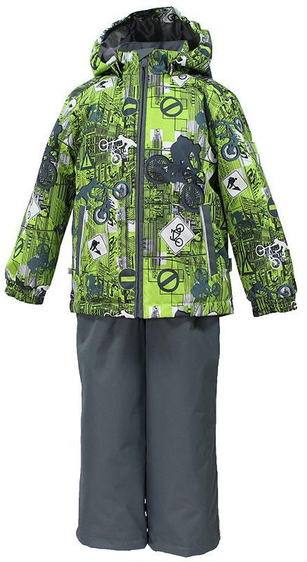Комплект для мальчика Huppa Yoko: куртка, брюки, цвет: лайм, серый. 41190004-72247. Размер 11041190004-72247Комплект верхней одежды для мальчика Huppa состоит из куртки и брюк. Комплект выполнен из водонепроницаемой и ветрозащитной ткани. Куртка с капюшоном и воротником-стойкой застегивается на пластиковую молнию. На рукавах предусмотрены манжеты, препятствующие проникновению холодного воздуха. Спереди расположены два прорезных кармана. Оформлено изделие оригинальным принтом. Брюки спереди застегиваются на пластиковую молнию. Модель дополнена эластичными наплечными лямками, регулируемыми по длине. На талии предусмотрена широкая резинка. Ширина штанин снизу регулируется.Комплект снабжен светоотражающими элементами, которые не оставят вашего ребенка незамеченным в темное время суток.