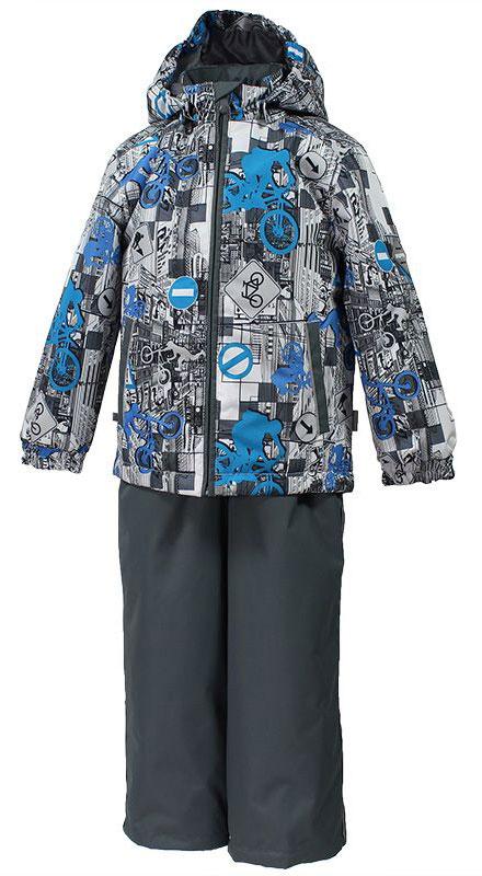 Комплект для мальчика Huppa Yoko: куртка, брюки, цвет: белый, серый, голубой. 41190004-72248. Размер 11041190004-72248Комплект верхней одежды для мальчика Huppa состоит из куртки и брюк. Комплект выполнен из водонепроницаемой и ветрозащитной ткани. Куртка с капюшоном и воротником-стойкой застегивается на пластиковую молнию. На рукавах предусмотрены манжеты, препятствующие проникновению холодного воздуха. Спереди расположены два прорезных кармана. Оформлено изделие оригинальным принтом. Брюки спереди застегиваются на пластиковую молнию. Модель дополнена эластичными наплечными лямками, регулируемыми по длине. На талии предусмотрена широкая резинка. Ширина штанин снизу регулируется.Комплект снабжен светоотражающими элементами, которые не оставят вашего ребенка незамеченным в темное время суток.