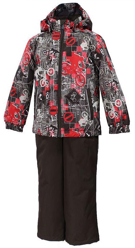 Комплект для мальчика Huppa Yoko: куртка, брюки, цвет: коричневый, красный. 41190004-72281. Размер 9841190004-72281Комплект верхней одежды для мальчика Huppa состоит из куртки и брюк. Комплект выполнен из водонепроницаемой и ветрозащитной ткани. Куртка с капюшоном и воротником-стойкой застегивается на пластиковую молнию. На рукавах предусмотрены манжеты, препятствующие проникновению холодного воздуха. Спереди расположены два прорезных кармана. Оформлено изделие оригинальным принтом. Брюки спереди застегиваются на пластиковую молнию. Модель дополнена эластичными наплечными лямками, регулируемыми по длине. На талии предусмотрена широкая резинка. Ширина штанин снизу регулируется.Комплект снабжен светоотражающими элементами, которые не оставят вашего ребенка незамеченным в темное время суток.