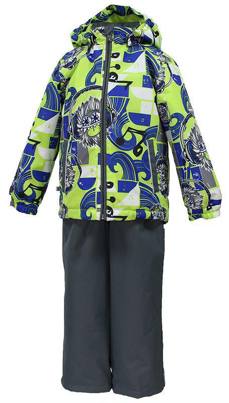 Комплект для мальчика Huppa Yoko: куртка, брюки, цвет: лайм, синий, серый. 41190004-73147. Размер 10441190004-73147Комплект верхней одежды для мальчика Huppa состоит из куртки и брюк. Комплект выполнен из водонепроницаемой и ветрозащитной ткани. Куртка с капюшоном и воротником-стойкой застегивается на пластиковую молнию. На рукавах предусмотрены манжеты, препятствующие проникновению холодного воздуха. Спереди расположены два прорезных кармана. Оформлено изделие оригинальным принтом. Брюки спереди застегиваются на пластиковую молнию. Модель дополнена эластичными наплечными лямками, регулируемыми по длине. На талии предусмотрена широкая резинка. Ширина штанин снизу регулируется.Комплект снабжен светоотражающими элементами, которые не оставят вашего ребенка незамеченным в темное время суток.