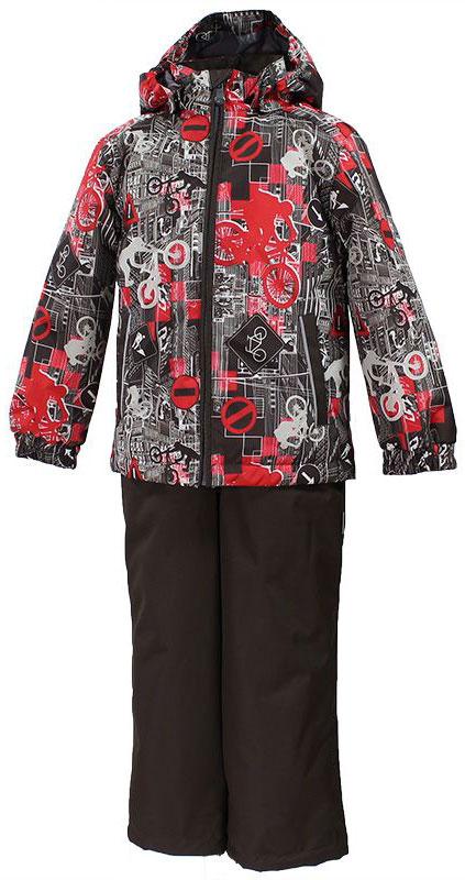 Комплект одежды для мальчика Huppa Yoko 1, цвет: коричневый, красный, белый. 41190104-72281. Размер 15241190104-72281Комплект верхней одежды для мальчика Huppa Yoko выполнен из износостойкого полиэстера и состоит из куртки и брюк. В качестве подкладки и утеплителя используется полиэстер. Ткань имеет водонепроницаемость 10000 мм, воздухопроницаемость 10000 г/м2. Брюки застегиваются на молнию и металлическую кнопку. Изделие дополнено съемными резиновыми подтяжками, длину которых можно регулировать. На талии имеется вшитая эластичная резинка. Снизу брючин предусмотрены шнурки-утяжки со стопперами. Куртка со съемным капюшоном и воротником-стойкой застегивается на молнию. Капюшон пристегивается при помощи кнопок. Манжеты рукавов собраны на внутренние резинки, низ куртки оснащен эластичным шнурком. Спереди модель дополнена двумя врезными карманами.Комплект оснащен светоотражающими элементами.