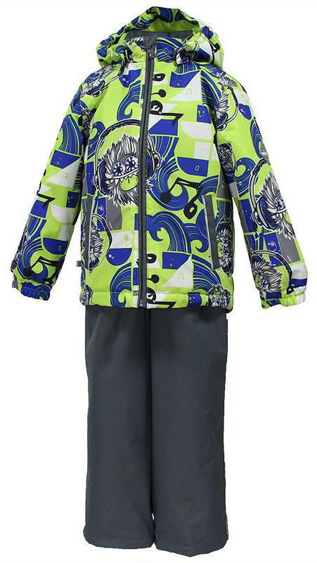 Комплект одежды для мальчика Huppa Yoko 1, цвет: серый, салатовый, синий. 41190104-73147. Размер 14041190104-73147Комплект верхней одежды для мальчика Huppa Yoko выполнен из износостойкого полиэстера и состоит из куртки и брюк. В качестве подкладки и утеплителя используется полиэстер. Ткань имеет водонепроницаемость 10000 мм, воздухопроницаемость 10000 г/м2. Брюки застегиваются на молнию и металлическую кнопку. Изделие дополнено съемными резиновыми подтяжками, длину которых можно регулировать. На талии имеется вшитая эластичная резинка. Снизу брючин предусмотрены шнурки-утяжки со стопперами. Куртка со съемным капюшоном и воротником-стойкой застегивается на молнию. Капюшон пристегивается при помощи кнопок. Манжеты рукавов собраны на внутренние резинки, низ куртки оснащен эластичным шнурком. Спереди модель дополнена двумя врезными карманами.Комплект оснащен светоотражающими элементами.