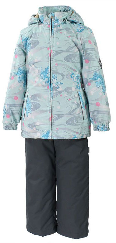 Комплект для девочки Huppa Yonne: куртка, брюки, цвет: серый, голубой. 41260004-71127. Размер 10441260004-71127Комплект верхней одежды для девочки Huppa состоит из куртки и брюк. Комплект выполнен из водонепроницаемой и ветрозащитной ткани. Куртка с капюшоном и воротником-стойкой застегивается на пластиковую молнию. На рукавах предусмотрены манжеты, препятствующие проникновению холодного воздуха. Спереди расположены два прорезных кармана. Оформлено изделие ярким принтом. Брюки спереди застегиваются на пластиковую молнию. Модель дополнена эластичными наплечными лямками, регулируемыми по длине. На талии предусмотрена широкая резинка. Ширина штанин снизу регулируется.Комплект снабжен светоотражающими элементами, которые не оставят вашего ребенка незамеченным в темное время суток.