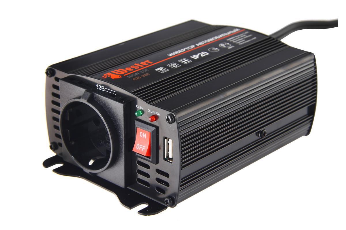Преобразователь напряжения  Wester MSW250 , инверторный, 12-220 В+USB77424Преобразователь напряжения Wester MSW250 позволяет подключать бытовые приборы (220 В)к бортовой сети автомобиля или к любому 12-ти вольтовому источнику напряжения.