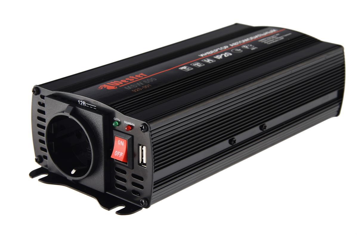 Преобразователь напряжения Wester MSW600, инверторный, 12-220 В+USB77427Преобразователь напряжения Wester MSW600предназначен для питания электроприборов от бортовой сети автомобиля. Устройство обеспечивает высокое качество выходного напряжения, поэтому подходит практически для любых бытовых приборов.