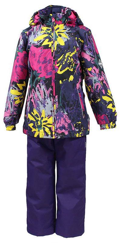 Комплект для девочки Huppa Yonne: куртка, брюки, цвет: фиолетовый, мультиколор. 41260004-71209. Размер 9241260004-71209Комплект верхней одежды для девочки Huppa состоит из куртки и брюк. Комплект выполнен из водонепроницаемой и ветрозащитной ткани. Куртка с капюшоном и воротником-стойкой застегивается на пластиковую молнию. На рукавах предусмотрены манжеты, препятствующие проникновению холодного воздуха. Спереди расположены два прорезных кармана. Оформлено изделие ярким принтом. Брюки спереди застегиваются на пластиковую молнию. Модель дополнена эластичными наплечными лямками, регулируемыми по длине. На талии предусмотрена широкая резинка. Ширина штанин снизу регулируется.Комплект снабжен светоотражающими элементами, которые не оставят вашего ребенка незамеченным в темное время суток.