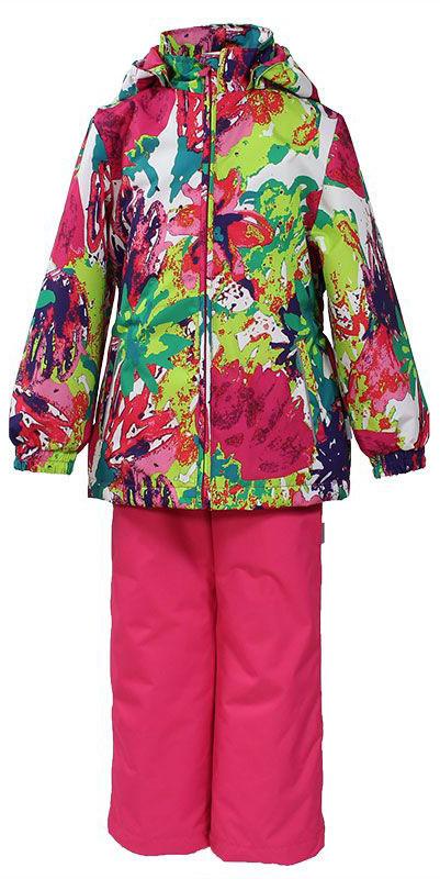 Комплект для девочки Huppa Yonne: куртка, брюки, цвет: фуксия, мультиколор. 41260004-71220. Размер 12241260004-71220Комплект верхней одежды для девочки Huppa состоит из куртки и брюк. Комплект выполнен из водонепроницаемой и ветрозащитной ткани. Куртка с капюшоном и воротником-стойкой застегивается на пластиковую молнию. На рукавах предусмотрены манжеты, препятствующие проникновению холодного воздуха. Спереди расположены два прорезных кармана. Оформлено изделие ярким принтом. Брюки спереди застегиваются на пластиковую молнию. Модель дополнена эластичными наплечными лямками, регулируемыми по длине. На талии предусмотрена широкая резинка. Ширина штанин снизу регулируется.Комплект снабжен светоотражающими элементами, которые не оставят вашего ребенка незамеченным в темное время суток.