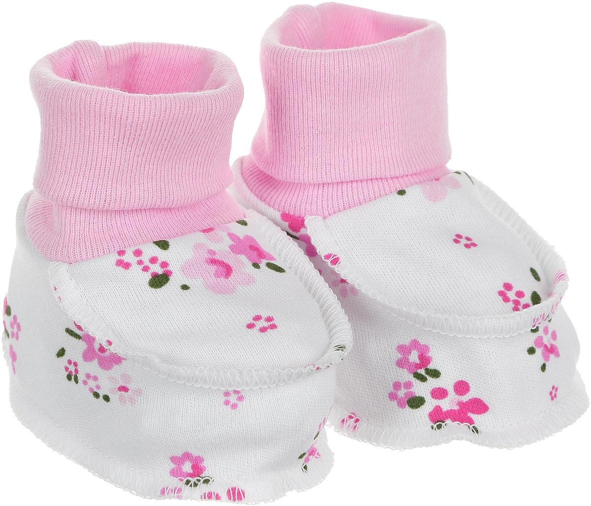 Пинетки для девочки Трон-плюс, цвет: белый, розовый, зеленый. 5912_ОЗ14_цветы. Размер 62, 3 месяца5912_ОЗ14_цветыМягкие и легкие пинетки Трон-плюс идеально подойдут для маленьких ножек вашей малышки. Изделие изготовлено из натурального хлопка, отлично пропускает воздух, обеспечивая комфорт. Швы выполнены наружу, что будет для ребенка особенно удобным. Пинетки дополнены широкой эластичной резинкой, которая не сдавливает ножку младенца. Модель оформлена цветочным принтом.Такие пинетки - отличное решение для малышей и их родителей!