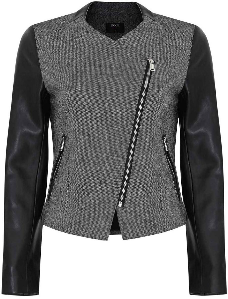Куртка женская oodji Ultra, цвет: серый, черный. 11200284-1/31288/2329B. Размер 40 (46-170)11200284-1/31288/2329BЖенская куртка oodji Ultra выполнена их высококачественного комбинированного материала. Рукава модели выполнены из искусственной кожи. В качестве подкладки используется полиэстер. Модель с круглым вырезом горловины застегивается на ассиметричную застежку-молнию. Спереди расположено два прорезных кармана на застежках-молниях. Куртка декорирована вставками из искусственной кожи.