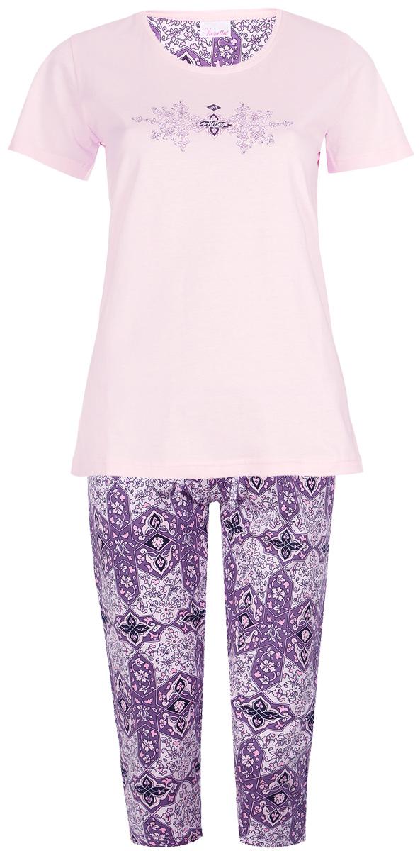 Костюм домашний женский Vienetta's Secret Орнамент: футболка, бриджи, цвет: светло-розовый, сиреневый. 512002 5379. Размер S (44) костюм домашний женский vienetta s secret башня футболка бриджи цвет розовый белый 512016 5394 размер m 46