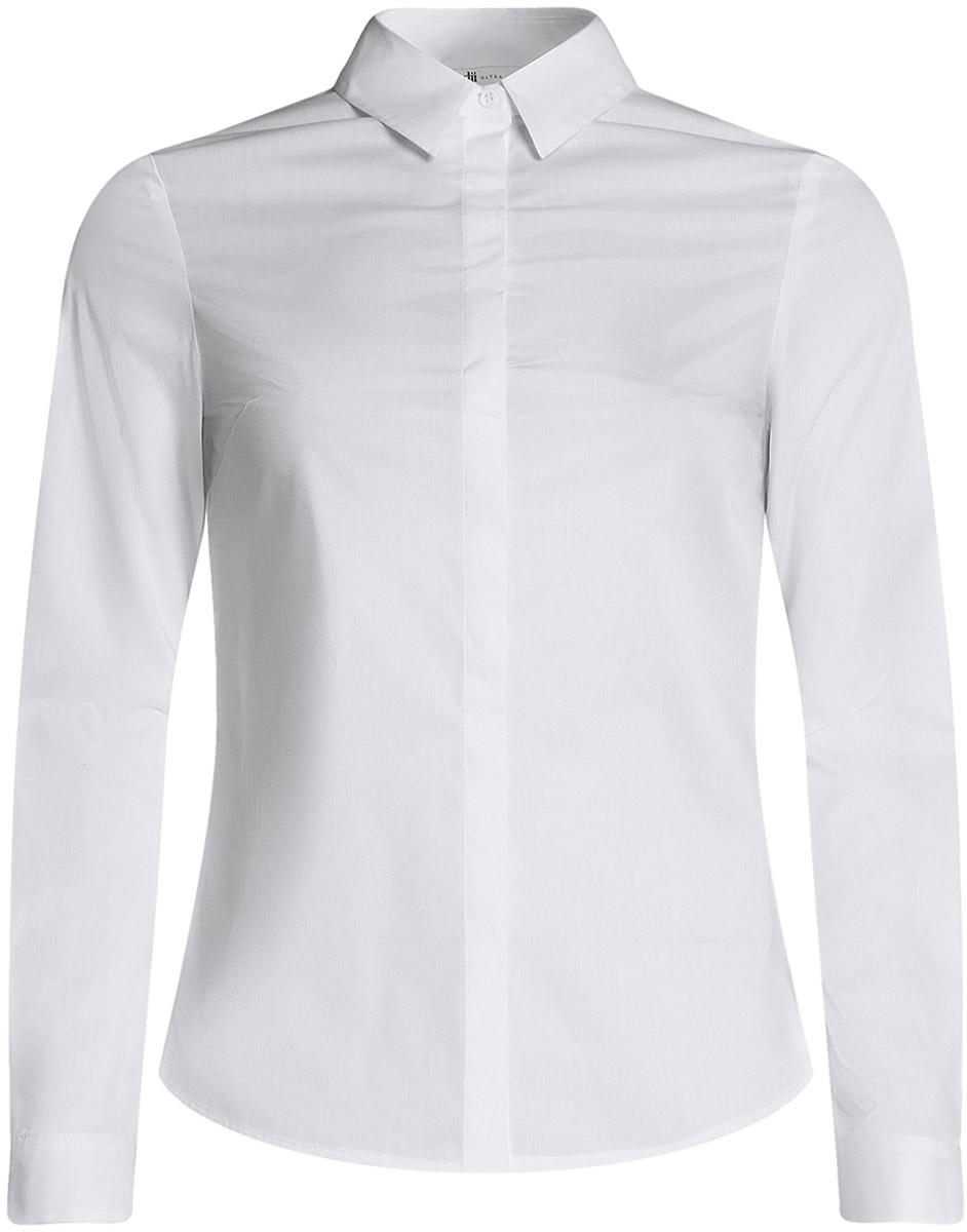 Рубашка женская oodji Ultra, цвет: белый. 11403228B/42083/1000N. Размер 40-170 (46-170)11403228B/42083/1000NКлассическая женская рубашка выполнена из комбинированного материала. Модель с длинными рукавами и отложным воротником застегивается на пуговицы, скрытые планкой.