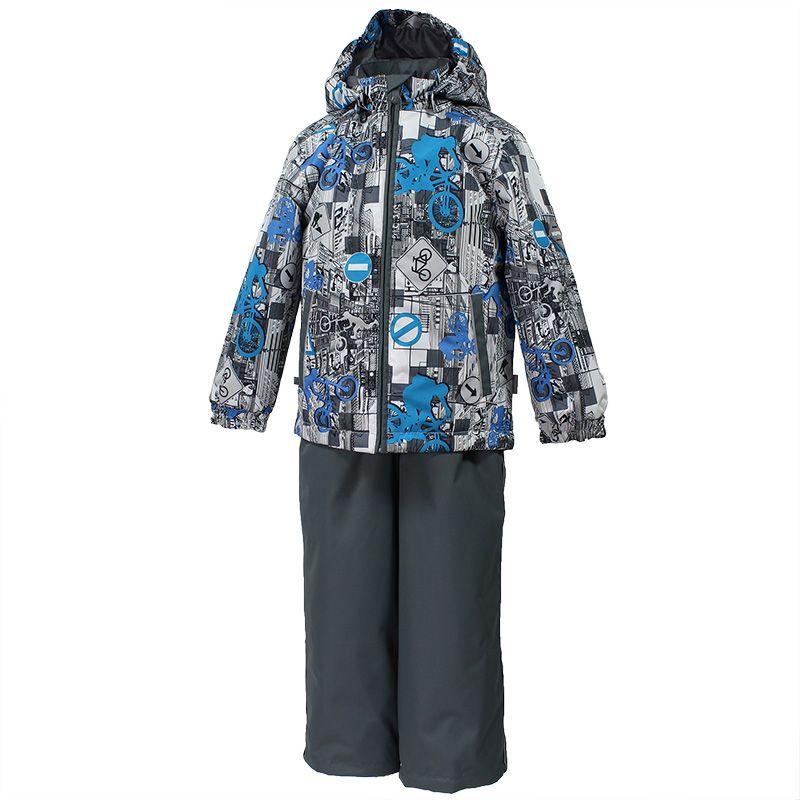 Комплект для мальчика Huppa Yoko: куртка, брюки, цвет: белый, серый, голубой. 41190014-72248. Размер 10441190014-72248Комплект верхней одежды для мальчика Huppa состоит из куртки и брюк. Комплект выполнен из водонепроницаемой и ветрозащитной ткани. Куртка с капюшоном и воротником-стойкой застегивается на пластиковую молнию. На рукавах предусмотрены манжеты, препятствующие проникновению холодного воздуха. Спереди расположены два прорезных кармана. Оформлено изделие оригинальным принтом. Брюки спереди застегиваются на пластиковую молнию. Модель дополнена эластичными наплечными лямками, регулируемыми по длине. На талии предусмотрена широкая резинка. Ширина штанин снизу регулируется.Комплект снабжен светоотражающими элементами, которые не оставят вашего ребенка незамеченным в темное время суток.