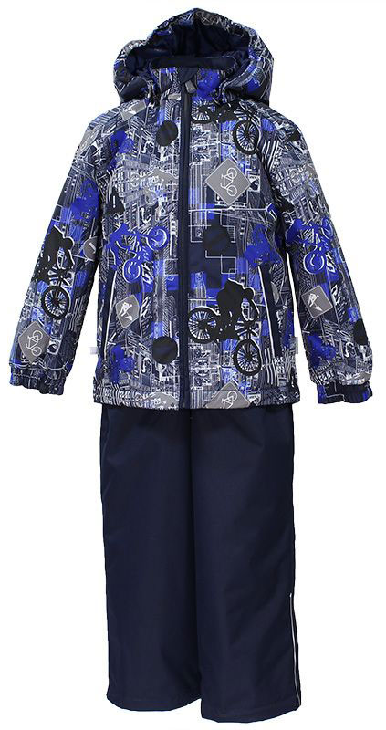 Комплект для мальчика Huppa Yoko: куртка, брюки, цвет: темно-синий, серый. 41190014-72286. Размер 9841190014-72286Комплект верхней одежды для мальчика Huppa состоит из куртки и брюк. Комплект выполнен из водонепроницаемой и ветрозащитной ткани. Куртка с капюшоном и воротником-стойкой застегивается на пластиковую молнию. На рукавах предусмотрены манжеты, препятствующие проникновению холодного воздуха. Спереди расположены два прорезных кармана. Оформлено изделие оригинальным принтом. Брюки спереди застегиваются на пластиковую молнию. Модель дополнена эластичными наплечными лямками, регулируемыми по длине. На талии предусмотрена широкая резинка. Ширина штанин снизу регулируется.Комплект снабжен светоотражающими элементами, которые не оставят вашего ребенка незамеченным в темное время суток.