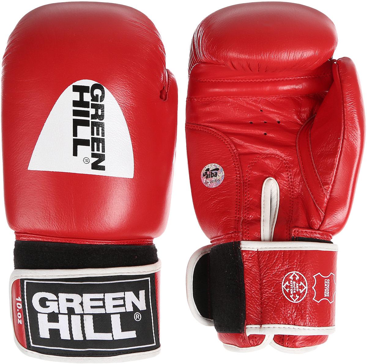 Перчатки боксерские Green Hill Tiger, цвет: красный, черный, белый. Вес 10 унций. BGT-2010аBGT-2010аБоксерские перчатки Green Hill Tiger, одобренные международной ассоциацией любительского бокса (AIBA), прекрасно подойдут для прогрессирующих спортсменов. Верх выполнен из натуральной кожи, наполнитель - из пенополиуретана. Точечная вентиляцияв области ладони позволяет создать максимально комфортный терморежим во время занятий. Широкий ремень, охватывая запястье, полностью оборачивается вокруг манжеты, благодаря чему создается дополнительная защита лучезапястного сустава от травмирования. Перчатки прекрасно сидят на руке. Застежка на липучке способствует быстрому и удобному надеванию перчаток, плотно фиксирует перчатки на руке.