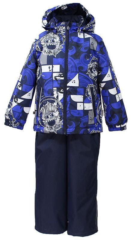 Комплект для мальчика Huppa Yoko: куртка, брюки, цвет: темно-синий, белый. 41190014-73186. Размер 11641190014-73186Комплект верхней одежды для мальчика Huppa состоит из куртки и брюк. Комплект выполнен из водонепроницаемой и ветрозащитной ткани. Куртка с капюшоном и воротником-стойкой застегивается на пластиковую молнию. На рукавах предусмотрены манжеты, препятствующие проникновению холодного воздуха. Спереди расположены два прорезных кармана. Оформлено изделие оригинальным принтом. Брюки спереди застегиваются на пластиковую молнию. Модель дополнена эластичными наплечными лямками, регулируемыми по длине. На талии предусмотрена широкая резинка. Ширина штанин снизу регулируется.Комплект снабжен светоотражающими элементами, которые не оставят вашего ребенка незамеченным в темное время суток.