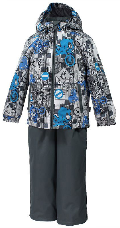 Комплект одежды для мальчика Huppa Yoko 1: куртка, брюки, цвет: серый, белый. 41190114-72248. Размер 12841190114-72248Комплект верхней одежды для мальчика Huppa Yoko выполнен из износостойкого полиэстера и состоит из куртки и брюк. В качестве подкладки и утеплителя используется качественный полиэстер. Брюки застегиваются на молнию и металлическую кнопку. Изделие дополнено съемными резиновыми подтяжками, длину которых можно регулировать. На талии имеется вшитая эластичная резинка. Снизу брючин предусмотрены шнурки-утяжки со стопперами. Куртка со съемным капюшоном и воротником-стойкой застегивается на пластиковую молнию. Капюшон пристегивается при помощи металлических кнопок. Манжеты рукавов собраны на внутренние резинки, низ куртки оснащен эластичным шнурком. Спереди модель дополнена двумя врезными карманами.Комплект оснащен светоотражающими элементами.