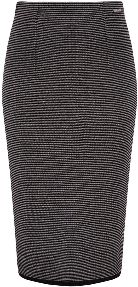Юбка oodji Collection, цвет: черный, серый. 73612026/45910/2923S. Размер S (44)73612026/45910/2923SСтильная юбка-карандаш выполнена из трикотажа. Модель оформлена принтом в мелкую полоску.