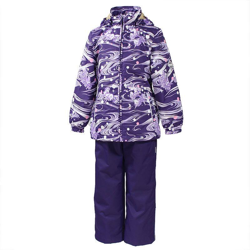 Комплект одежды для девочки Huppa Yonne: куртка, брюки, цвет: темно-лиловый, белый. 41260014-71173. Размер 10441260014-71173Комплект верхней одежды для девочки Huppa Yonne выполнен из износостойкого полиэстера и состоит из куртки и брюк. В качестве подкладки и утеплителя используется полиэстер. Ткань имеет водонепроницаемость 10000 мм, воздухопроницаемость 10000 г/м2. Брюки с высокой грудкой застегиваются на молнию. Изделие дополнено мягкими резиновыми лямками, регулируемыми по длине. На талии сзади и по бокам предусмотрена вшитая эластичная резинка. Снизу брючин предусмотрены шнурки-утяжки со стопперами. Куртка со съемным капюшоном и воротником-стойкой застегивается на застежку-молнию. Капюшон пристегивается при помощи кнопок. Манжеты рукавов и спинка на талии собраны на внутренние резинки. Спереди модель дополнена двумя врезными карманами.Комплект оснащен светоотражающими элементами.