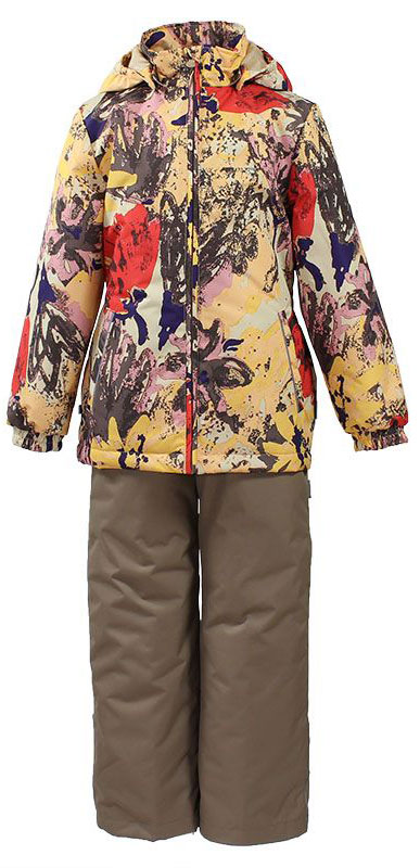 Комплект одежды для девочки Huppa Yonne: куртка, брюки, цвет: коричневый, бежевый, красный. 41260014-71242. Размер 9841260014-71242Комплект верхней одежды для девочки Huppa Yonne выполнен из износостойкого полиэстера и состоит из куртки и брюк. В качестве подкладки и утеплителя используется полиэстер. Ткань имеет водонепроницаемость 10000 мм, воздухопроницаемость 10000 г/м2. Брюки с высокой грудкой застегиваются на молнию. Изделие дополнено мягкими резиновыми лямками, регулируемыми по длине. На талии сзади и по бокам предусмотрена вшитая эластичная резинка. Снизу брючин предусмотрены шнурки-утяжки со стопперами. Куртка со съемным капюшоном и воротником-стойкой застегивается на застежку-молнию. Капюшон пристегивается при помощи кнопок. Манжеты рукавов и спинка на талии собраны на внутренние резинки. Спереди модель дополнена двумя врезными карманами.Комплект оснащен светоотражающими элементами.