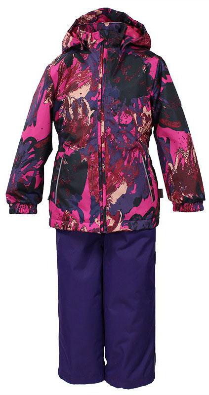 Комплект одежды для девочки Huppa Yonne: куртка, брюки, цвет: фуксия, темно-лиловый. 41260014-71263. Размер 9241260014-71263Комплект верхней одежды для девочки Huppa Yonne выполнен из износостойкого полиэстера и состоит из куртки и брюк. В качестве подкладки и утеплителя используется полиэстер. Ткань имеет водонепроницаемость 10000 мм, воздухопроницаемость 10000 г/м2. Брюки с высокой грудкой застегиваются на молнию. Изделие дополнено мягкими резиновыми лямками, регулируемыми по длине. На талии сзади и по бокам предусмотрена вшитая эластичная резинка. Снизу брючин предусмотрены шнурки-утяжки со стопперами. Куртка со съемным капюшоном и воротником-стойкой застегивается на застежку-молнию. Капюшон пристегивается при помощи кнопок. Манжеты рукавов и спинка на талии собраны на внутренние резинки. Спереди модель дополнена двумя врезными карманами.Комплект оснащен светоотражающими элементами.