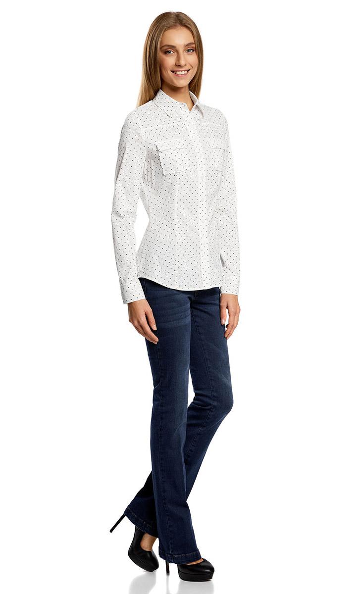 Рубашка женская oodji Ultra, цвет: белый, черный. 11442121-5/43609/1229Q. Размер XL (50)
